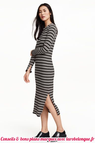 robe longue coton hm raye manche longue