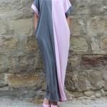 robe longue coton manche courte rose et grise graphique