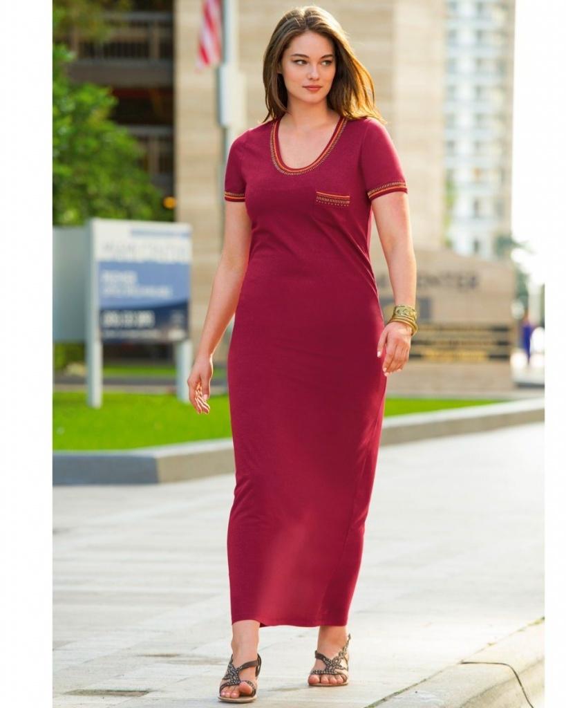 robe longue coton maxi tee shirt grande taille manche courte rouge bordeau