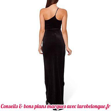 robe longue coton noir asymetrique bretelle fine