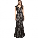 robe longue coton noir dentelle avec ceinture