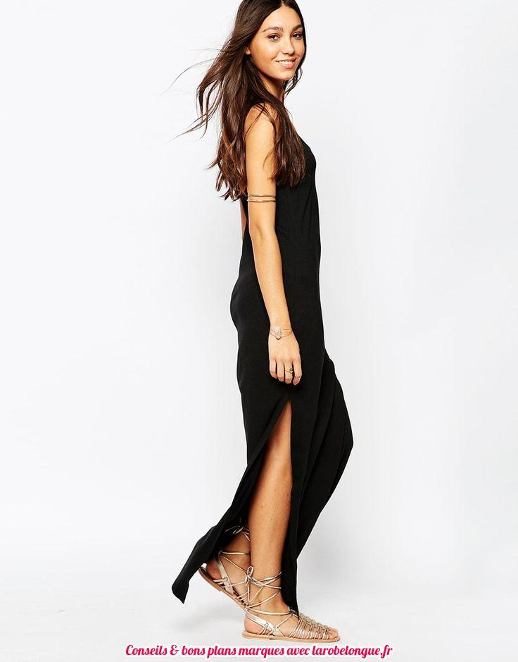 robe longue coton noir ete fendue cote