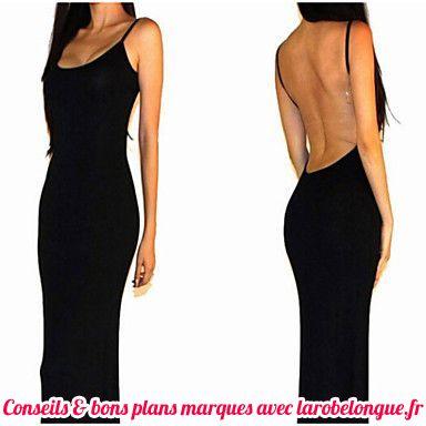 robe longue coton noir fine bretelle dos nu