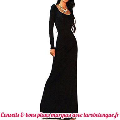 robe longue coton noir manche longue