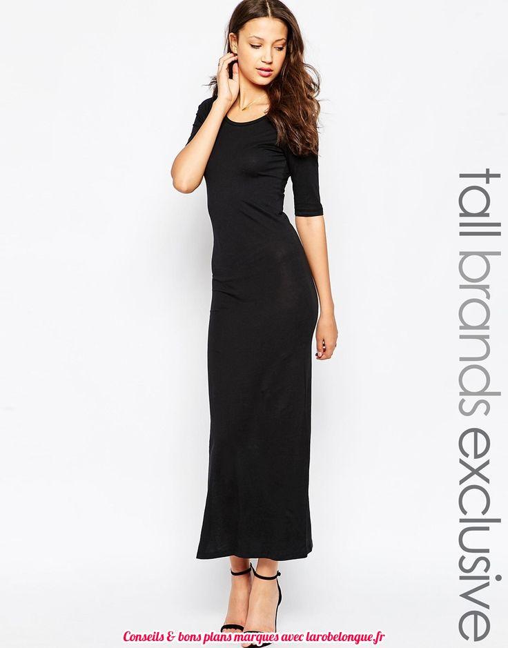 robe longue coton noir moulante manche mi longue