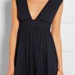 robe longue coton noir sans manche decollete