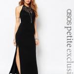 robe longue coton noir soiree fendue