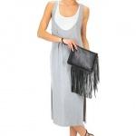 robe longue coton pas cher blanc et fendue