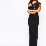 robe longue coton pas cher noire asymetrique