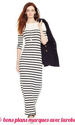 robe longue coton raye blanc bleu marine