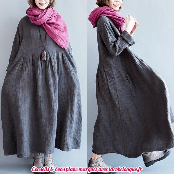 robe longue coton ultra fluide et large grise