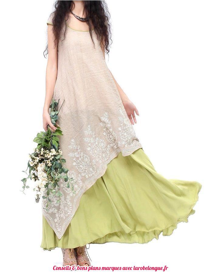 robe longue coton voile broderie et volant vert amande