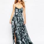 robe longue coton voile fine bretelle et fendue cote cuisse imprime animal noir et gris