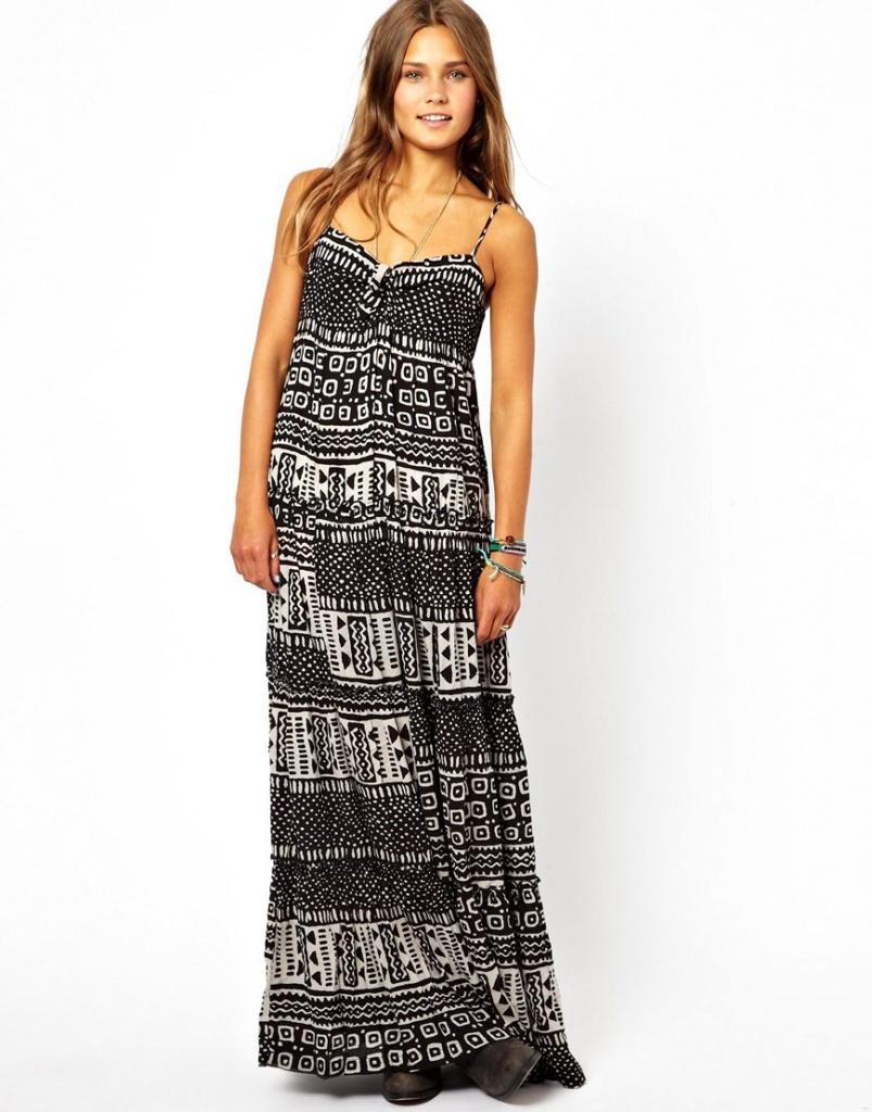 robe longue en coton bio a bretelle grise et noire