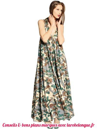robe longue en coton imprime kaki