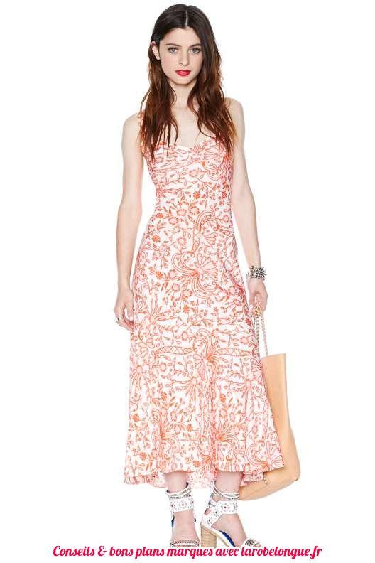 robe longue fleurie en coton a bretelle rose orange fond blanc