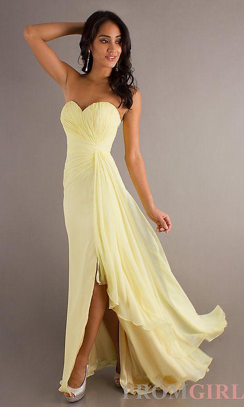 robe longue jaune pale bustier fendu jusqu au genou