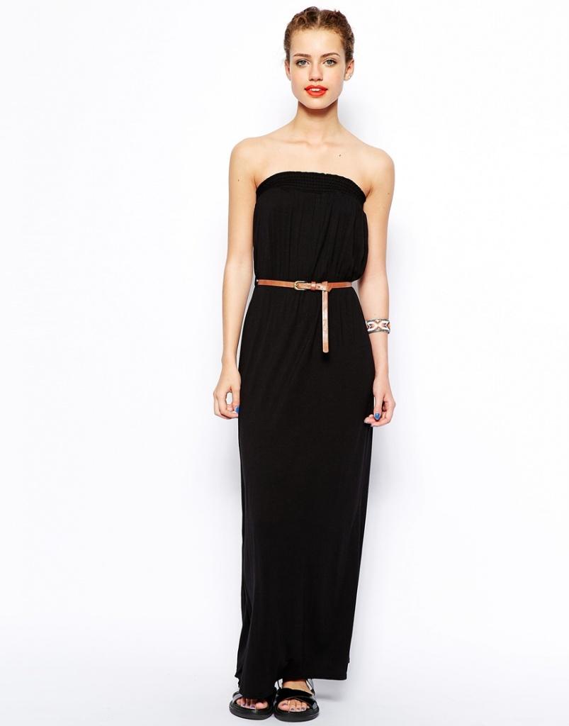 robe longue noire bustier pas cher