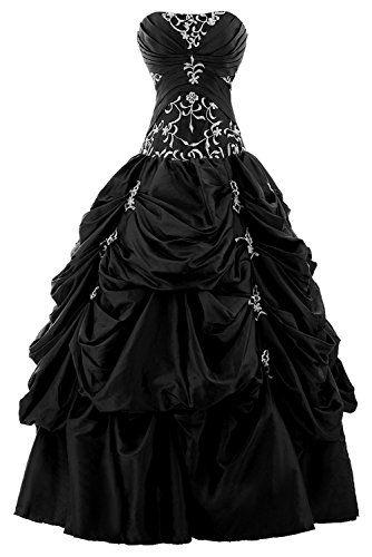 robe longue noire bustier taffetas et volants avec motifs argentes