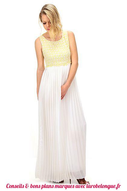 robe longue voile coton blanche et bustier jaune