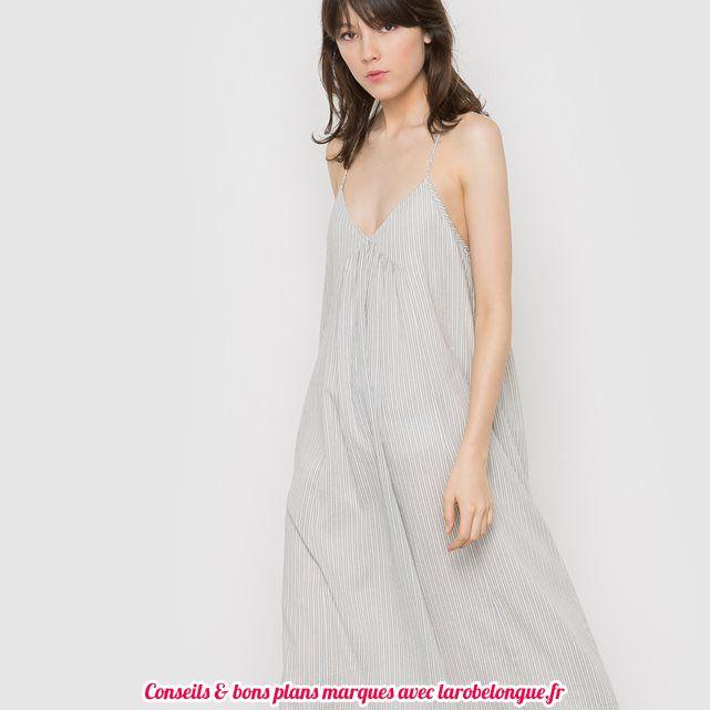 robe longue voile coton la redoute fine bretelle grise