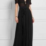 robe longue voile coton noir manche courte