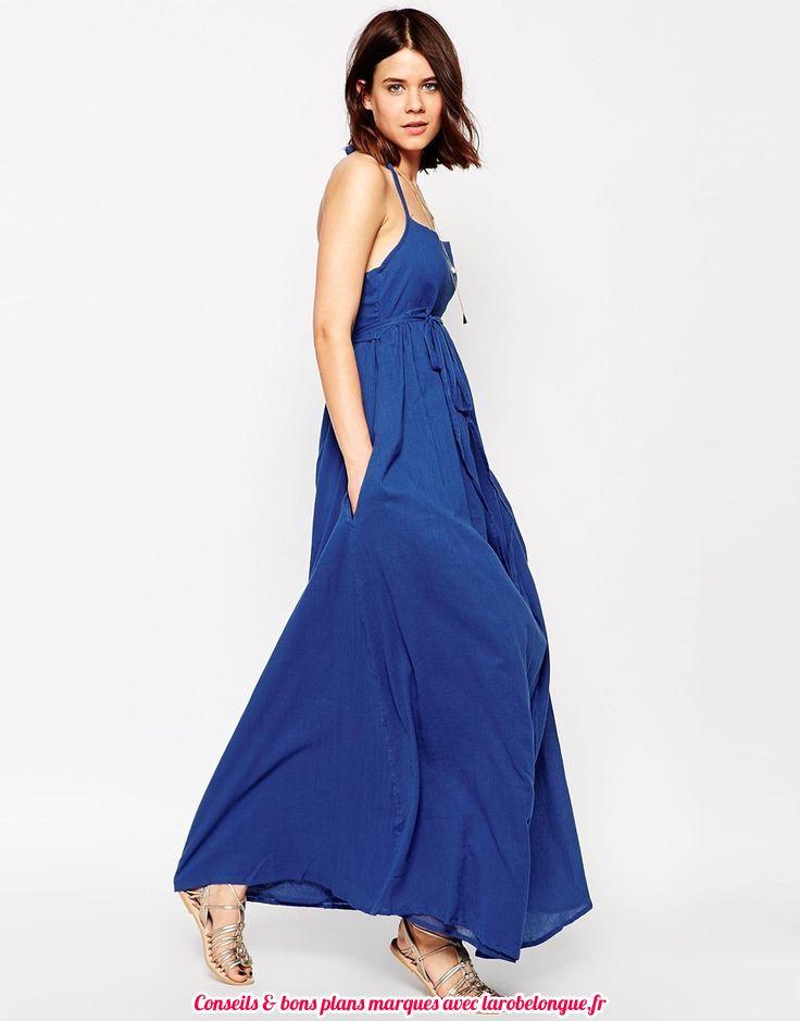robe longue voile cotonbleu electrique fine bretelle