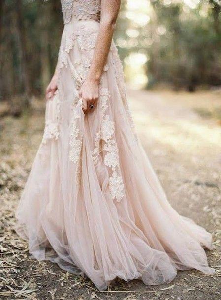 robe mariee rose pale longue bustier dentelle et mousseline fine