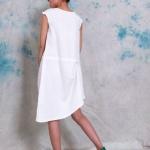 robe mi longue coton blanche asymetrique