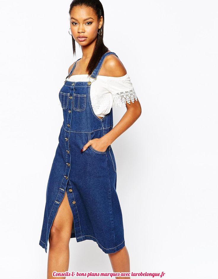 robe mi longue jean coton ete fine bretelle