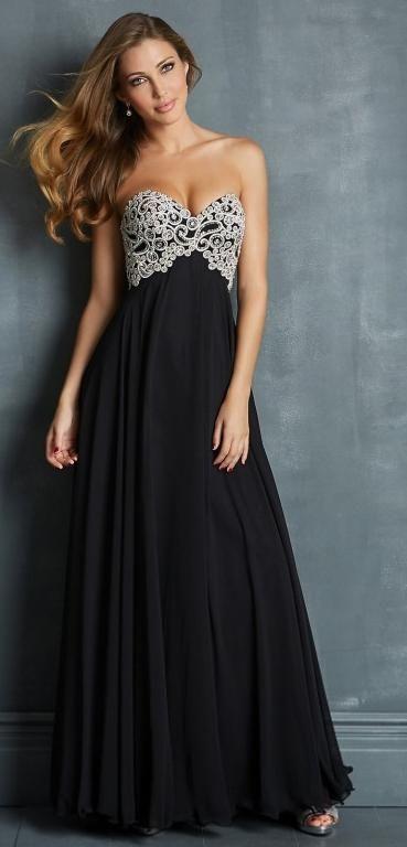 robe noire longue bustier avec paillettes