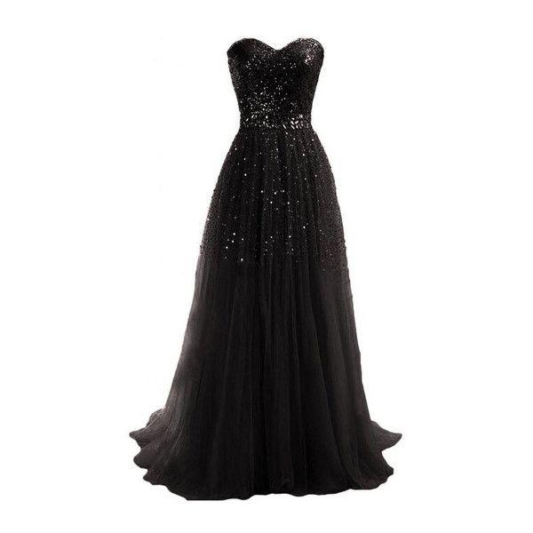 robe noire longue bustier avec sequins argentes