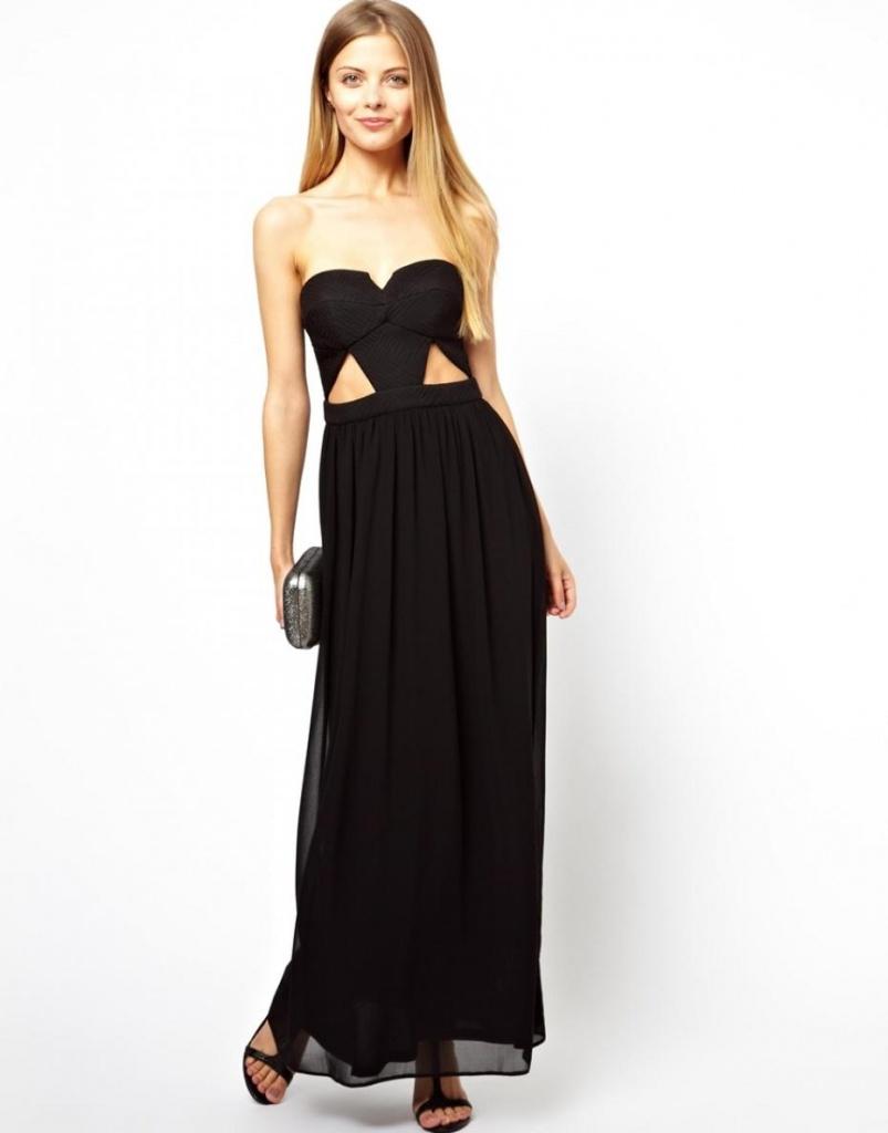 robe noire longue bustier original coton