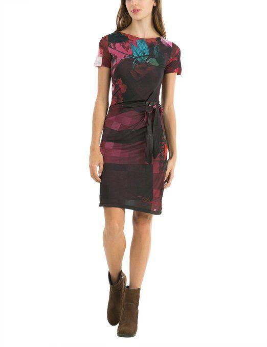 Jolie robe longue desigual ete manches courtes et belle ceinture noire