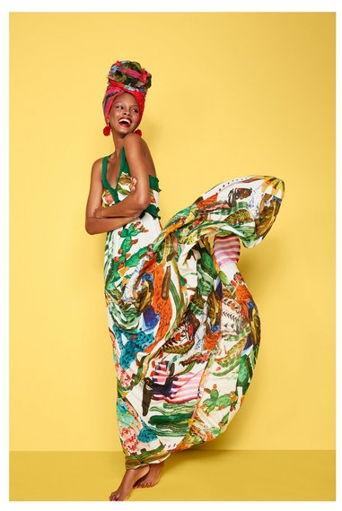 Robe ete desigual collection 2016 oversize avec bretelles vertes