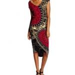 Robe femme mi longue desigual moulante noire rouge et or