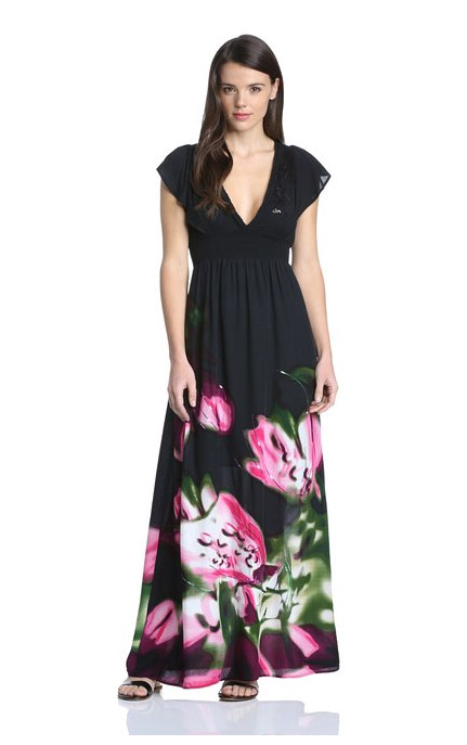 Robe longue desigual femme modele berna manche courte