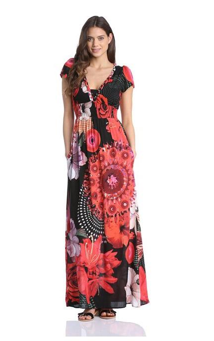 Robe longue desigual femme noire imprime rouge orange