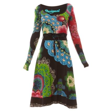Robe longue desigual manches longues noire a motifs tres colores