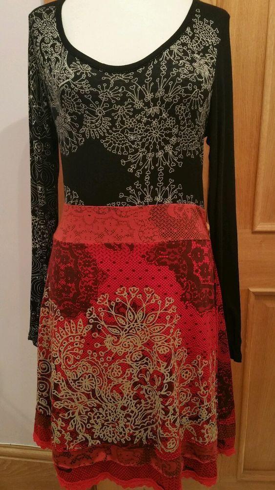 Robe xxl mi longue desigual noire et rouge