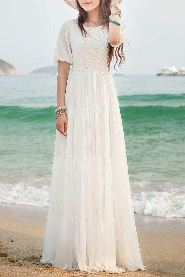 Belle longue robe blanche mousseline et dentelle anglaise manche courte