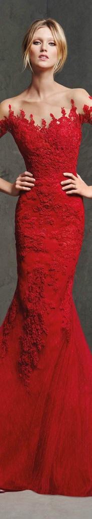 Belle robe de soiree bustier longue rouge avec dentelle