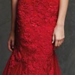 Belle robe longue rouge bustier dentelle moulante