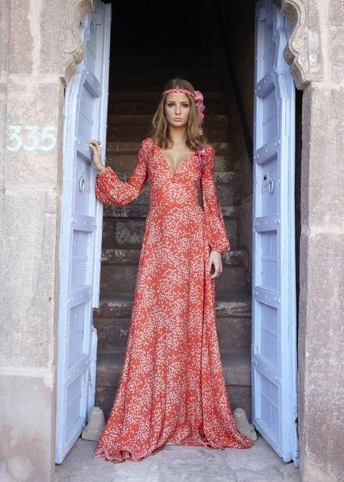 Belle robe maxi longue femme rouge imprime beige boheme