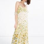 Joli robe longue fluide doubles bretelles tombantes imprime fleurs de coquelicot jaune