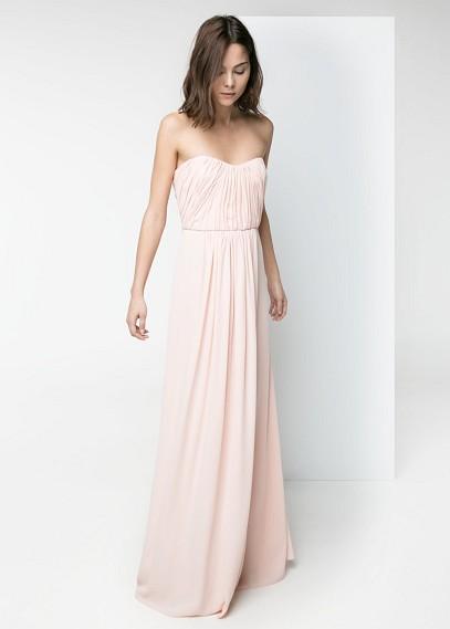 Jolie robe bustier longue mango rose pale pour gala
