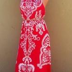 Longue robe rouge ete imprime indien
