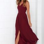 Longue robe rouge fonce bordeaux pour mariage