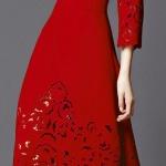 Longue robe rouge intense dentelle avec manches longues