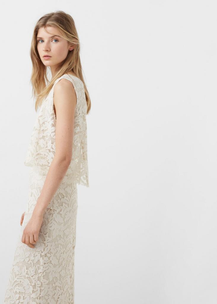 Ravissante robe longue blanche guipure dentelle sans manche parfaite pour mariage